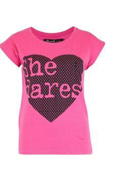 Тениска с щампа сърце Blend She