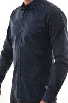 Синя риза със ситен десен Blend