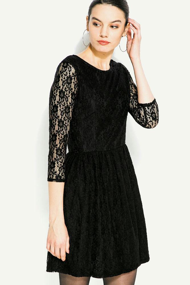 Черна дантелена рокля Blend She